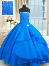 Flare Sleeveless Floor Length Beading and Lace and Sequins Lace Up 15 Quinceanera Dress with Blue Court Train