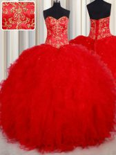 Admirable Floor Length Red Ball Gown Prom Dress Sweetheart Sleeveless Lace Up