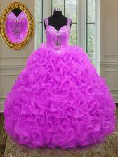 Modern Fuchsia Straps Lace Up Beading and Ruffles Vestidos de Quinceanera Sleeveless