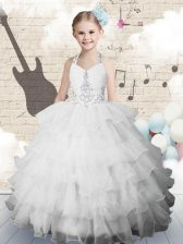 Fancy White Lace Up Halter Top Beading and Ruffled Layers Girls Pageant Dresses Organza Sleeveless