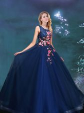 Discount Navy Blue Lace Up Scoop Appliques Sweet 16 Dresses Tulle Sleeveless