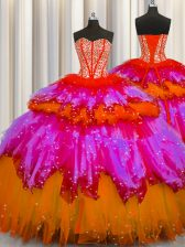 Bling-bling Visible Boning Floor Length Multi-color Quinceanera Gowns Sweetheart Sleeveless Lace Up