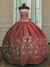 Vintage Rust Red Sleeveless Satin Lace Up Sweet 16 Dresses for Military Ball and Sweet 16 and Quinceanera