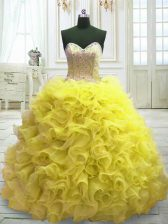 Best Yellow Ball Gowns Beading and Ruffles 15th Birthday Dress Lace Up Organza Sleeveless