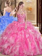 Classical Floor Length Rose Pink Quinceanera Dress Organza Sleeveless Embroidery and Ruffles