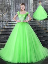 Straps Sleeveless Tulle Brush Train Lace Up Quinceanera Gown for Military Ball and Sweet 16 and Quinceanera