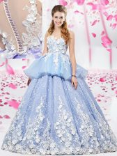 Exceptional Scoop Lavender Sleeveless Organza and Tulle Lace Up Quinceanera Gown for Military Ball and Sweet 16 and Quinceanera