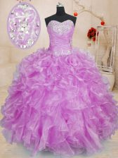 Floor Length Lilac Quinceanera Dress Organza Sleeveless Beading and Ruffles