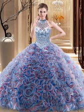 Suitable Multi-color Halter Top Neckline Beading 15 Quinceanera Dress Sleeveless Lace Up