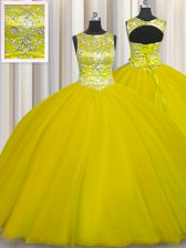 Best Scoop Gold Ball Gowns Beading Sweet 16 Dresses Lace Up Tulle Sleeveless Floor Length