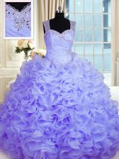 Great Sleeveless Organza Floor Length Zipper 15th Birthday Dress in Lavender with Beading and Ruffles