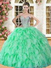 Beautiful Sleeveless Organza Floor Length Lace Up Sweet 16 Quinceanera Dress in with Beading and Ruffles