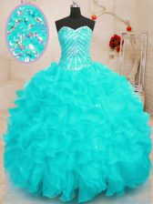 Excellent Sequins Floor Length Ball Gowns Sleeveless Aqua Blue Quinceanera Gowns Lace Up