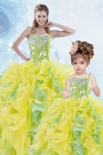 Floor Length Multi-color Sweet 16 Dresses Organza Sleeveless Beading and Ruffles and Sequins