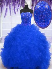 Sleeveless Brush Train Lace Up With Train Beading and Ruffles Quinceanera Gowns