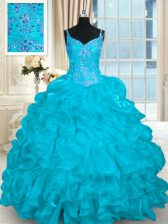 Comfortable Organza Sleeveless Vestidos de Quinceanera Brush Train and Beading and Embroidery and Ruffles