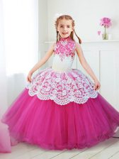 Extravagant Halter Top High-neck Sleeveless Tulle Flower Girl Dresses for Less Beading and Lace Zipper
