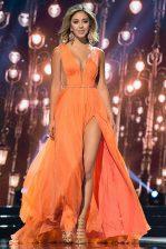 Beauteous Orange Sleeveless Sweep Train Sashes ribbons Dress for Prom