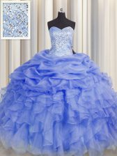 Graceful Purple Ball Gowns Organza Sweetheart Sleeveless Beading and Ruffles Floor Length Lace Up 15th Birthday Dress