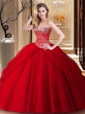 Red Tulle Lace Up Sweetheart Sleeveless Floor Length Vestidos de Quinceanera Beading