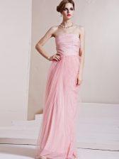 Amazing Floor Length Column/Sheath Sleeveless Baby Pink Evening Dress Side Zipper