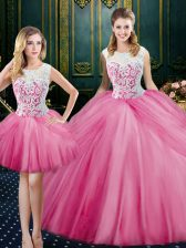 Three Piece Pink Tulle Zipper Scoop Sleeveless Floor Length Sweet 16 Dresses Lace and Pick Ups