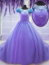 Scoop Short Sleeves Tulle Quinceanera Dress Hand Made Flower Court Train Lace Up
