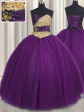 Classical Purple 15th Birthday Dress Military Ball and Sweet 16 and Quinceanera with Beading and Appliques Sweetheart Sleeveless Lace Up