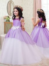 White and Purple Ball Gowns Scoop Sleeveless Tulle Brush Train Zipper Beading and Bowknot and Hand Made Flower Little Girls Pageant Dress