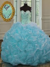 Blue Ball Gowns Organza Sweetheart Sleeveless Beading and Pick Ups Lace Up 15th Birthday Dress Sweep Train