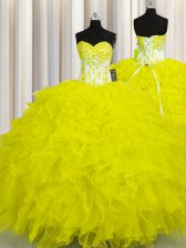 Floor Length Lace Up Quinceanera Dresses Yellow for Military Ball and Sweet 16 and Quinceanera with Appliques and Ruffles