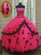 Hot Sale Floor Length Hot Pink Quinceanera Gown Tulle Sleeveless Beading and Appliques