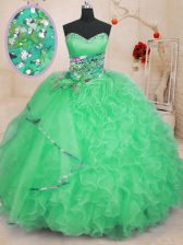 Edgy Apple Green Ball Gowns Sweetheart Sleeveless Organza Floor Length Lace Up Beading and Ruffles Sweet 16 Quinceanera Dress