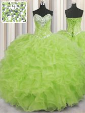 Deluxe Ball Gowns Sweet 16 Quinceanera Dress Yellow Green Sweetheart Organza Sleeveless Floor Length Lace Up