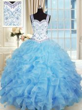 Baby Blue Quinceanera Gowns Military Ball and Sweet 16 and Quinceanera with Beading and Appliques and Ruffles Sweetheart Sleeveless Lace Up