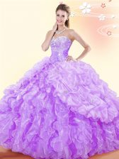 Popular Pick Ups Floor Length Lavender Sweet 16 Dresses Sweetheart Sleeveless Lace Up