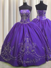 High Class Purple Ball Gowns Taffeta Strapless Sleeveless Beading and Embroidery Floor Length Lace Up Sweet 16 Quinceanera Dress
