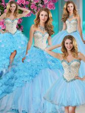 Dynamic Four Piece Baby Blue Organza Lace Up Quinceanera Dress Sleeveless With Brush Train Beading and Ruffles