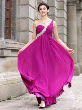 One Shoulder Sleeveless Beading Zipper Prom Gown