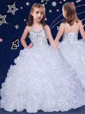 Stunning White Toddler Flower Girl Dress Quinceanera and Wedding Party with Beading and Ruffles Halter Top Sleeveless Lace Up