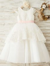Super Scoop Cap Sleeves Organza Floor Length Zipper Flower Girl Dresses in White with Lace and Appliques and Bowknot