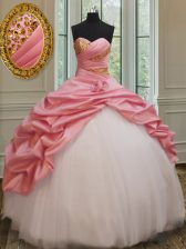 Beauteous Pink And White Ball Gowns Beading and Pick Ups and Hand Made Flower Quinceanera Gown Lace Up Taffeta and Tulle Sleeveless Floor Length