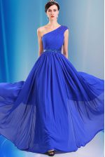 Nice Chiffon One Shoulder Sleeveless Side Zipper Ruching and Belt Prom Evening Gown in Royal Blue
