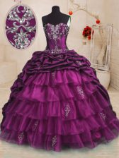 Fabulous Purple Sleeveless Sweep Train Beading and Appliques and Ruffles and Pick Ups With Train Ball Gown Prom Dress