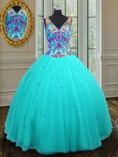 Custom Fit Ball Gowns 15 Quinceanera Dress Aqua Blue V-neck Tulle Sleeveless Floor Length Zipper