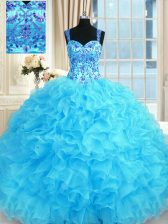 Baby Blue Ball Gowns Straps Sleeveless Organza Floor Length Lace Up Embroidery and Ruffles Quinceanera Gown