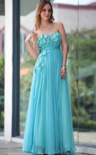 Gorgeous Aqua Blue Zipper Sweetheart Beading and Hand Made Flower Homecoming Dress Chiffon Sleeveless