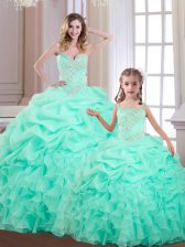 Spectacular Organza Sweetheart Sleeveless Lace Up Beading and Ruffles and Pick Ups 15th Birthday Dress in Apple Green