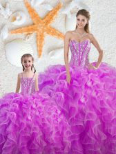 Top Selling Fuchsia Organza Lace Up Quinceanera Dress Sleeveless Floor Length Beading and Ruffles