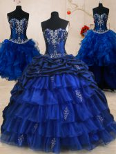 Four Piece Pick Ups Ruffled Brush Train Ball Gowns Sweet 16 Quinceanera Dress Royal Blue Sweetheart Organza and Taffeta Sleeveless With Train Lace Up